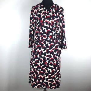 Ann Taylor Red & Navy Blue Abstract Wrap Dress